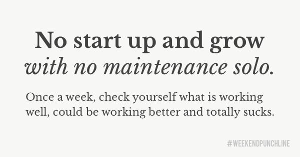 No start up and grow with no maintenance solo. Once a week, check yourself what is working well, could be working better and totally sucks.